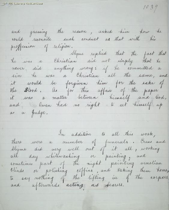 The Ragged Trousered Philanthropists - Manuscript, Page 1039