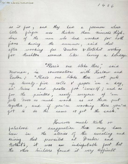 The Ragged Trousered Philanthropists - Manuscript, Page 1486