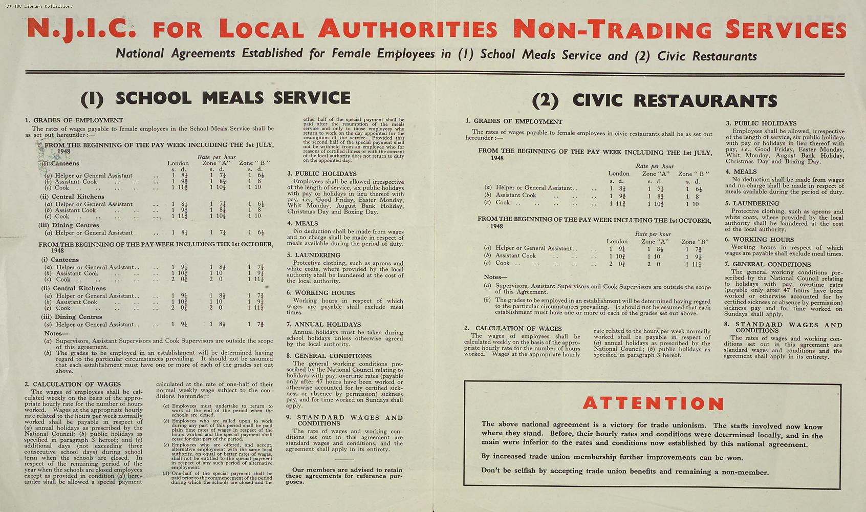 Pay agreement for Civic Restaurant and School Meals Staff, 1948
