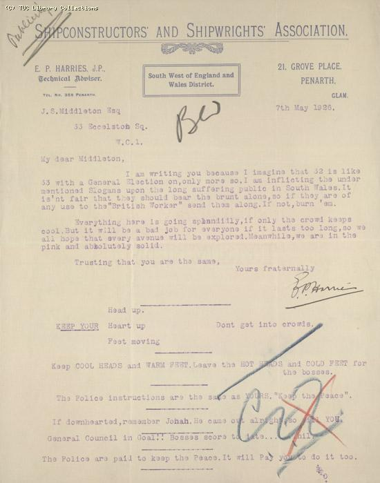 Letter from E.P. Harris (?) of Shipconstructors and Shipwrights Association SW and Wales District to J.S. Middleton, TUC, 7 May 1926, re: slogans for publicity material