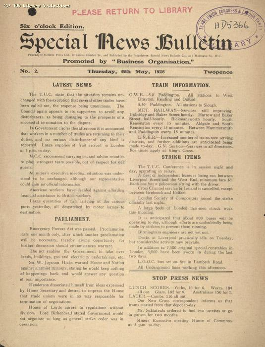 Special News Bulletin, 6 May 1926