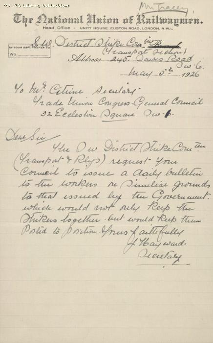 Letter from SW District Strike Committee (NUR)  to General Council, 5th May 1926, Re: Need for strike bulletin