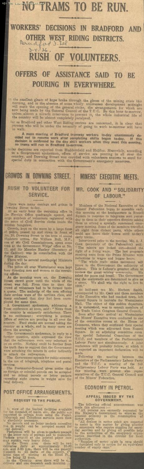 Newscutting - No Trams to be Run, 3 May 1926