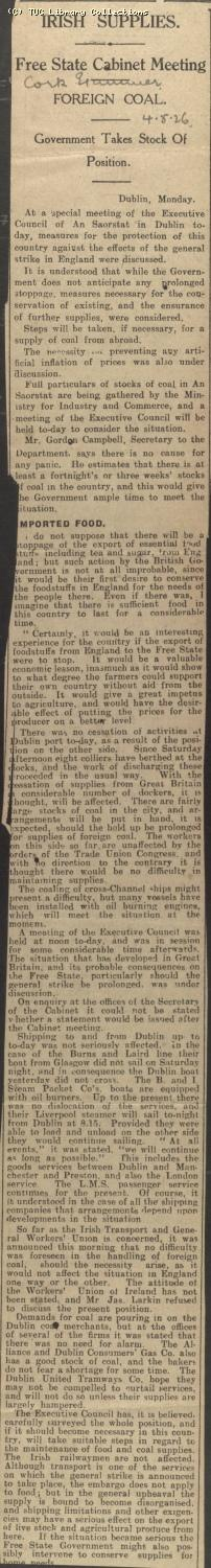 Newscutting - Irish Supplies, 4 May 1926