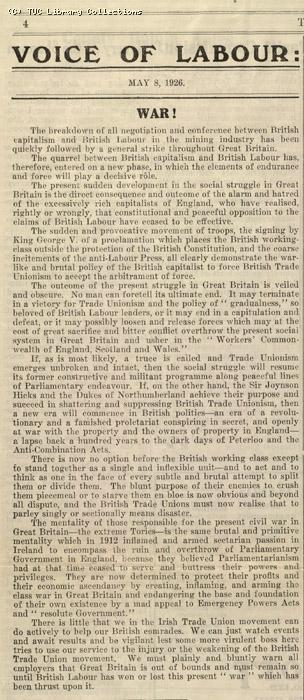 Voice of Labour, 8 May 1926