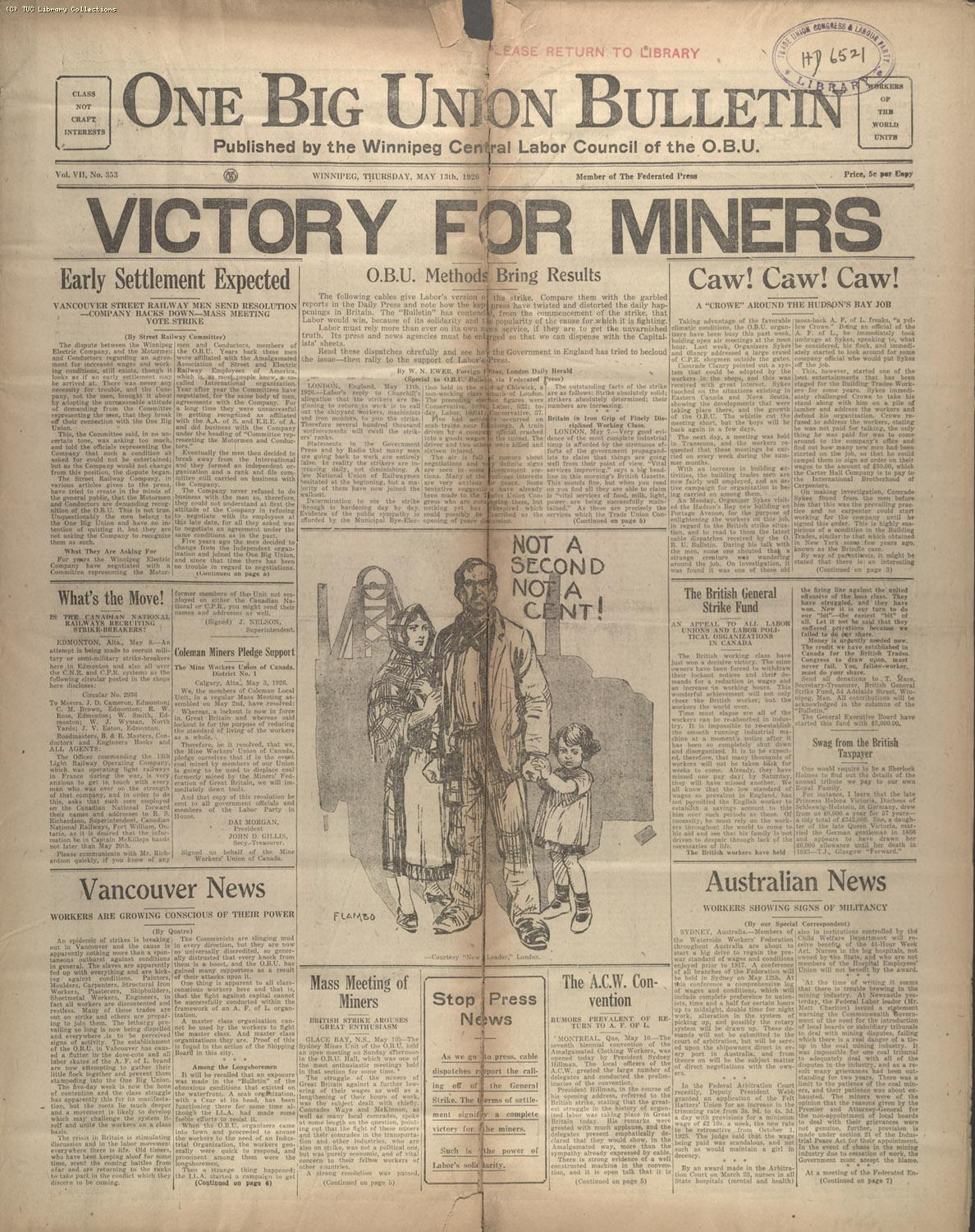 One Big Union bulletin, 8 May 1926