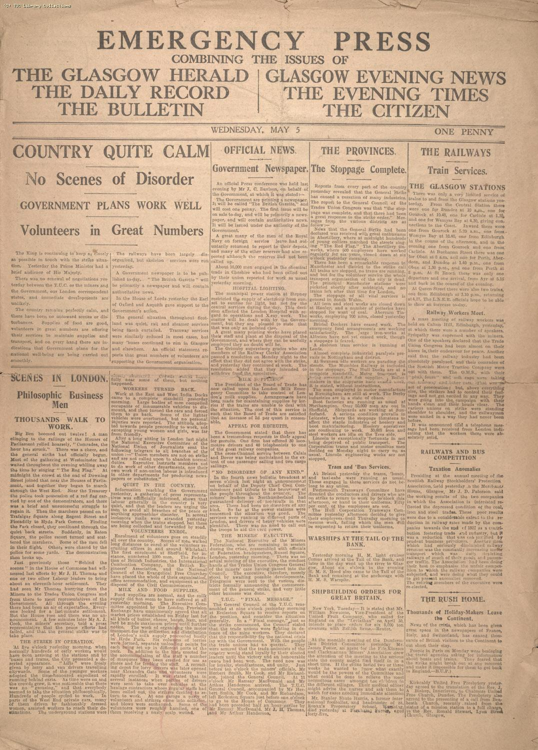 Emergency Press, 5 May 1926