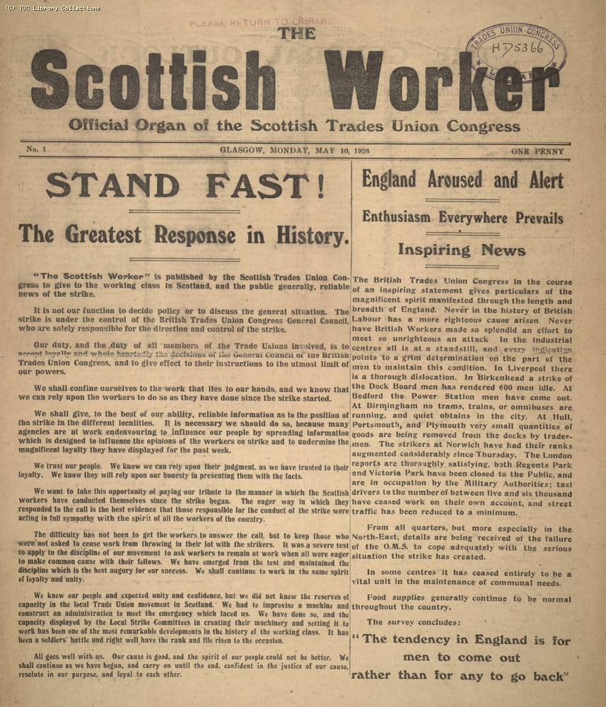 The Scottish Worker, 10 May 1926