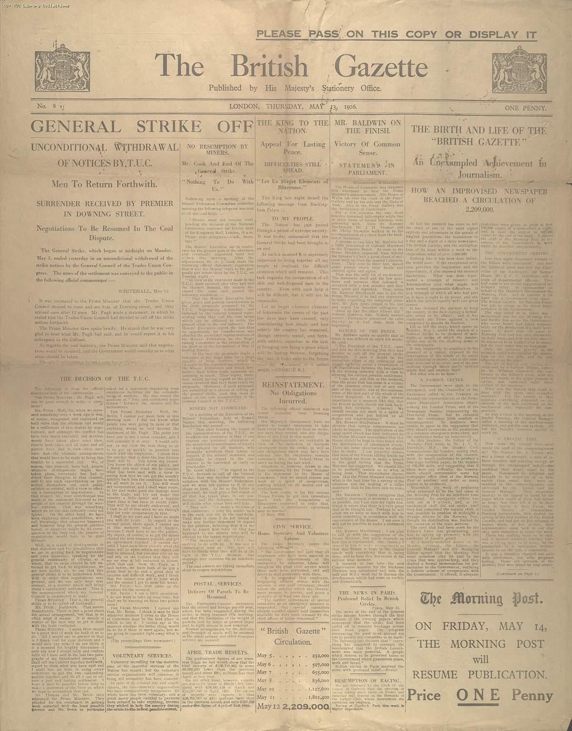 The British Gazette, 13 May 1926