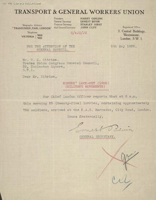 Letter from Ernest Bevin to Walter Citrine, 5 May 1926, re: troop movements on City Road, London