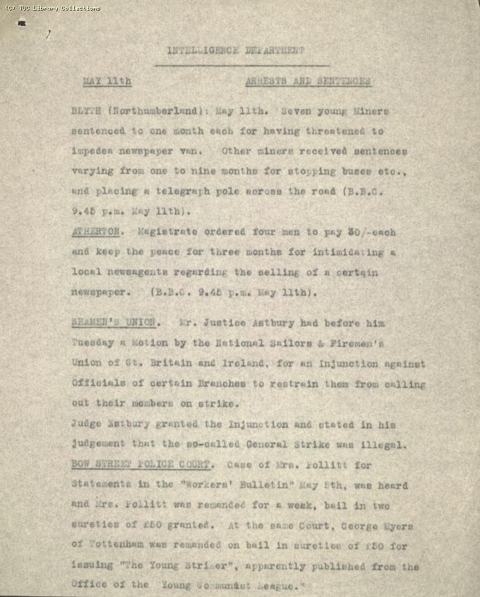 Intelligence Report - Arrests and Sentences, 11 May 1926