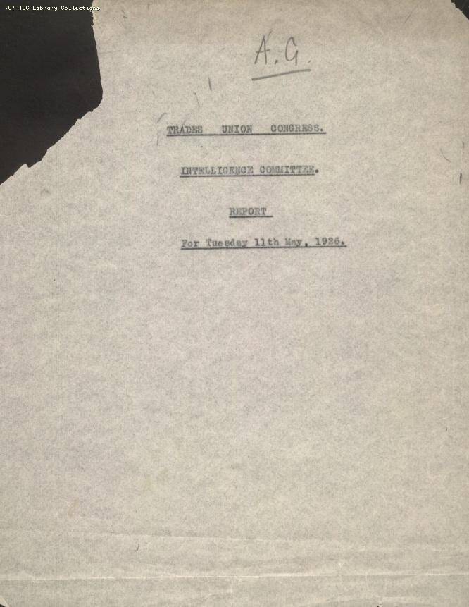 Intelligence Committee Report, 11 May 1926