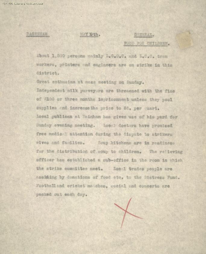Intelligence Report - Dagenham, 10 May 1926