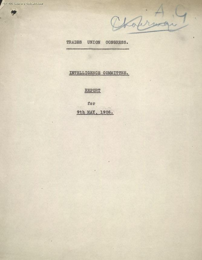 Intelligence Committee Report, 9 May 1926