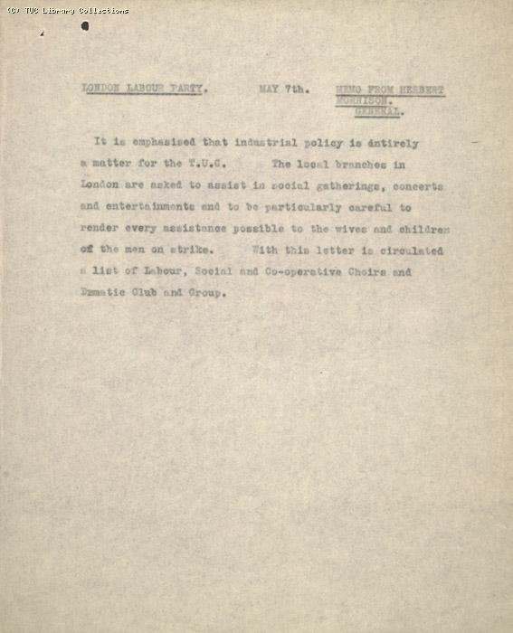 Memo - Herbert Morrison to London Labour Party, 7 May 1926