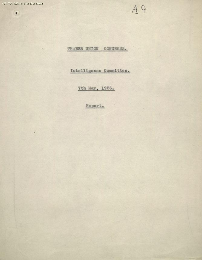 Intelligence Committee Report, 7 May 1926
