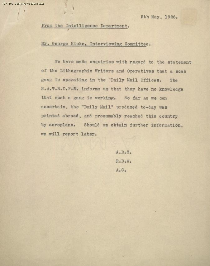 Memo - Intelligence Dept to George Hicks, 5 May 1926