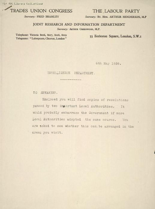 Letter and attachment - TUC and Labour Party Joint Research and Information Dept, 6 May 1926, re: resolutions passed by local authorities.