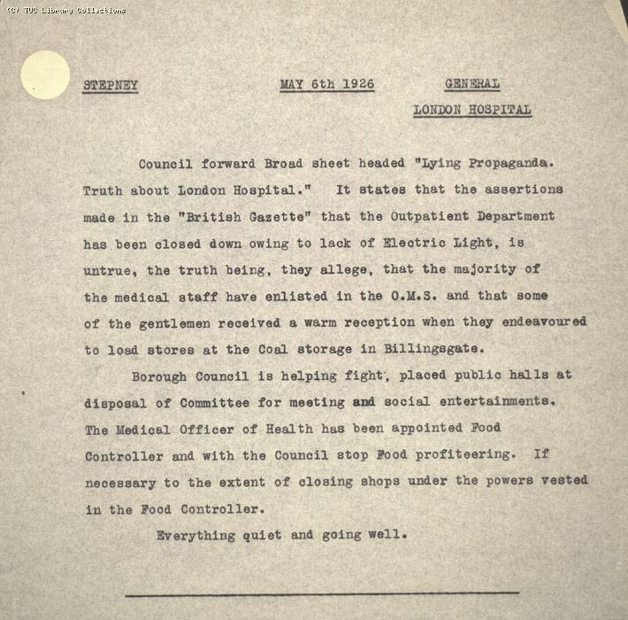 Intelligence Report - Stepney, 6 May 1926
