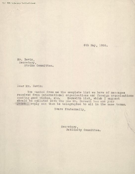 Letter - to Bevin re message + attachment 6 May 1926