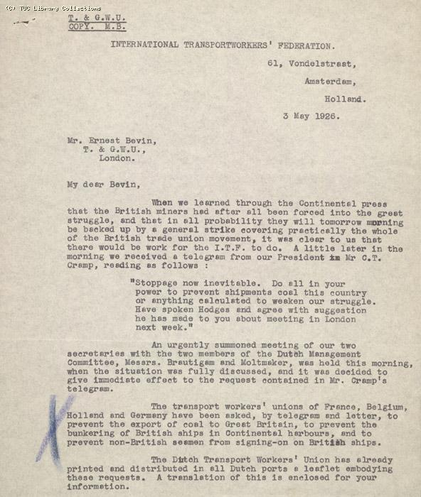 Letter - to Bevin from ITF 3 May 1926
