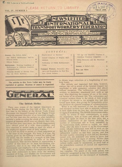 Newsletter of the ITF, May 1926