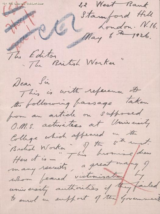 Letter from Oscar D. Plomer to the Editor - British Worker, 6 May 1926, re: allegations of victimisation at University College