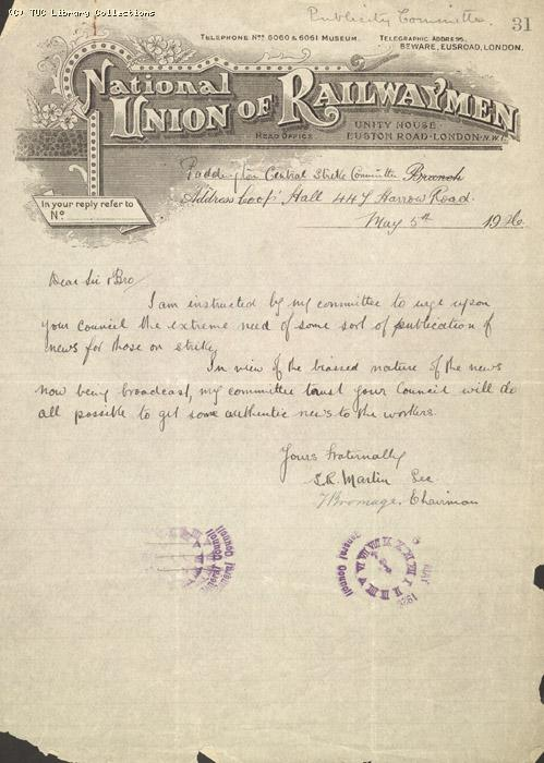 Letter from Paddington Central Strike Committee (NUR) to General Council, 5 May 1926, Re: Need for strike bulletin