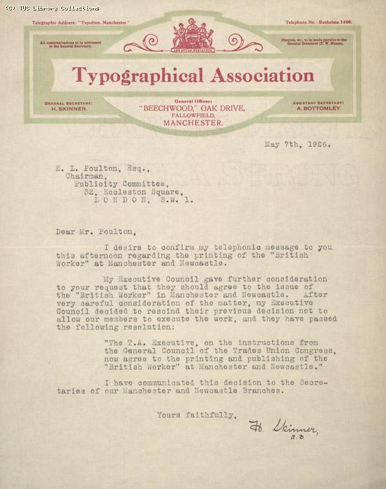 Letter from Typographical Association to E.L. Poulton, 7 May 1926, Re: Printing the British Worker
