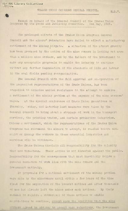 Press Release from General Council (MD7), 2 May 1926 (page 1)