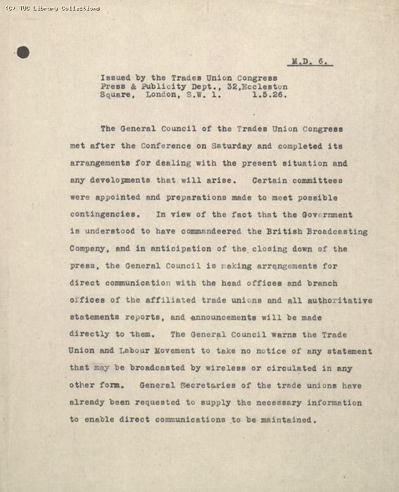 Press statement from Press and Publicity Committee (MD6), 1 May 1926, preparations for stoppage
