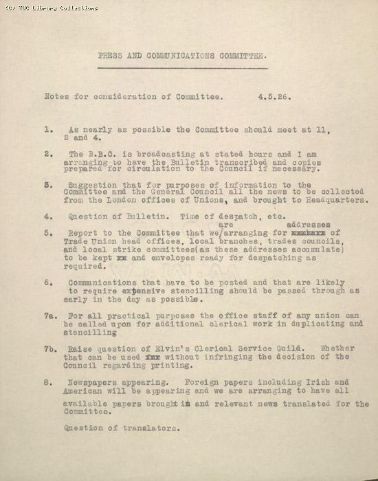 Notes for consideration of the Press and Communication Committee, 5 May 1926