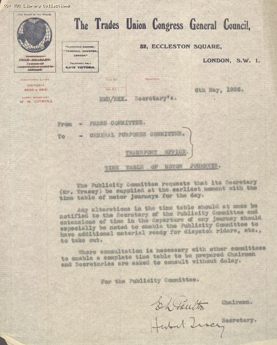 Memo from Press Committee to General Purposes Committee, 6 May 1926, re: Time table of motor journeys