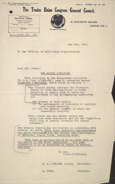 Circular No. 27 from Citrine and Pugh to the Officers of all affiliated trade unions, 4 May 1926, re: distribution of essential supplies