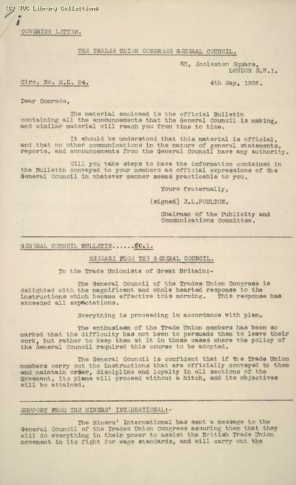 Circular No. 28 from GC to Secretaries of all affiliated trade unions, 4 May 1926, re: Mining Dispute