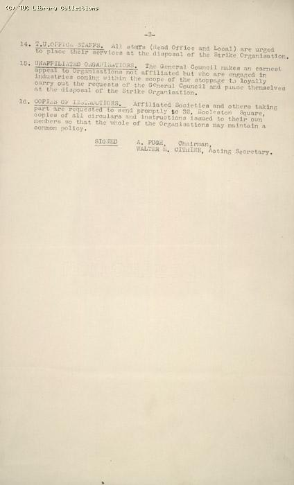 Memorandum from GC to General Secretaries of all affiliated trade unions, 2 May 1926, re: The Mining Situation