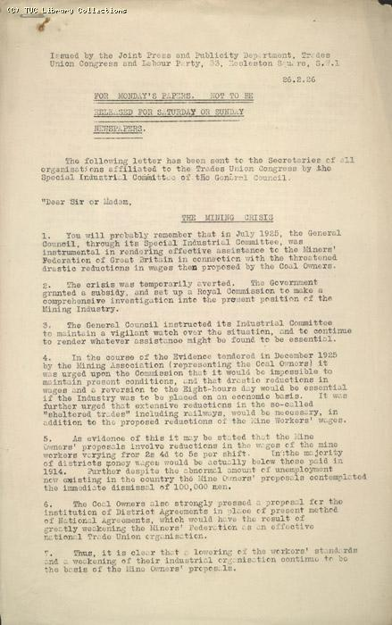 Press release from Joint Press and Publicity Department, Trades Union Congress and Labour Party, 26 February 1926, re: The Mining Crisis