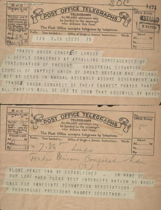 Telegram - Leeds,Baptists, 5 May 1926