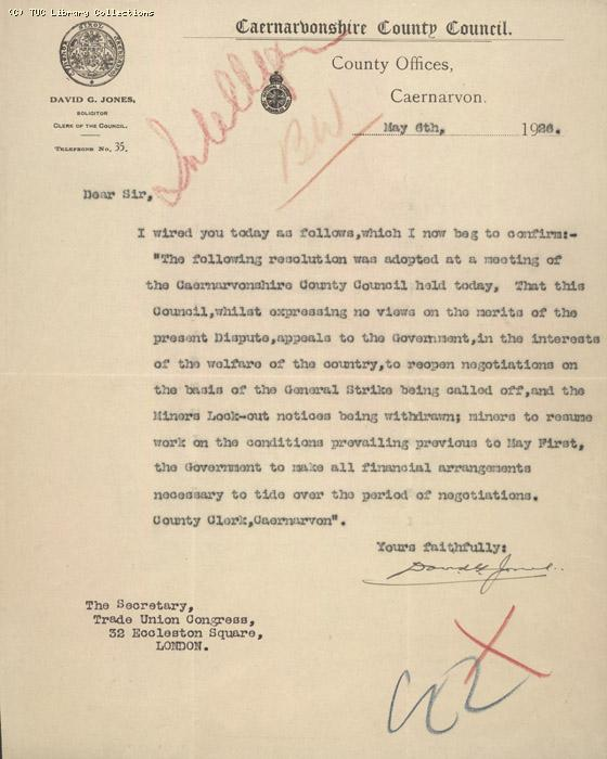 Letter - Caerarvon, 6 May 1926