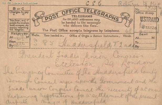 Telegram - Huddersfield,  6 May 1926