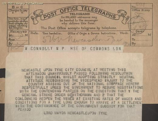 Telegram - Newcastle, 5 May 1926
