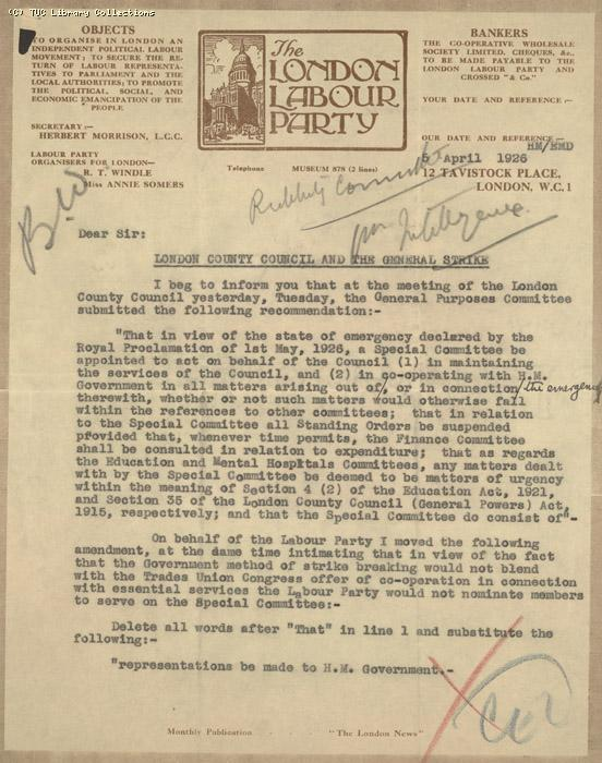 Letter - LLP, 5 May 1926