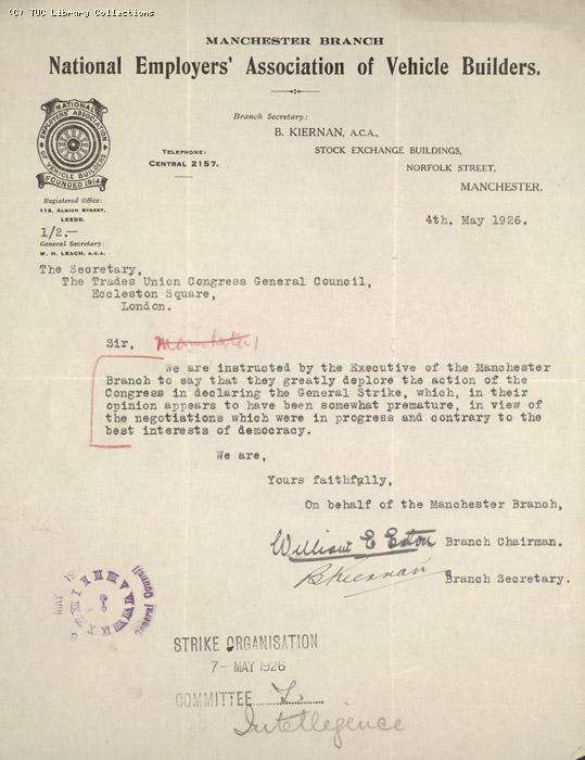 Letter - Manchester Branch NEAVB, 4 May 1926