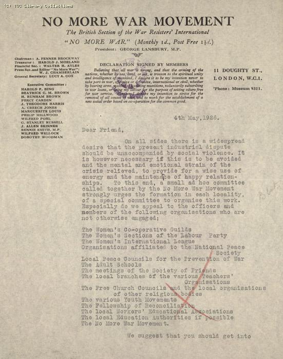 Letter - No more War, 4 May 1926