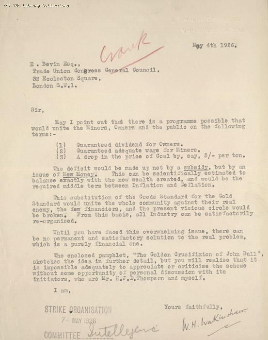Letter - Wakinshaw, 4 May 1926