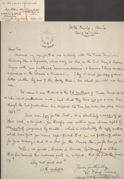 Letter - Howe, 30 May 1926