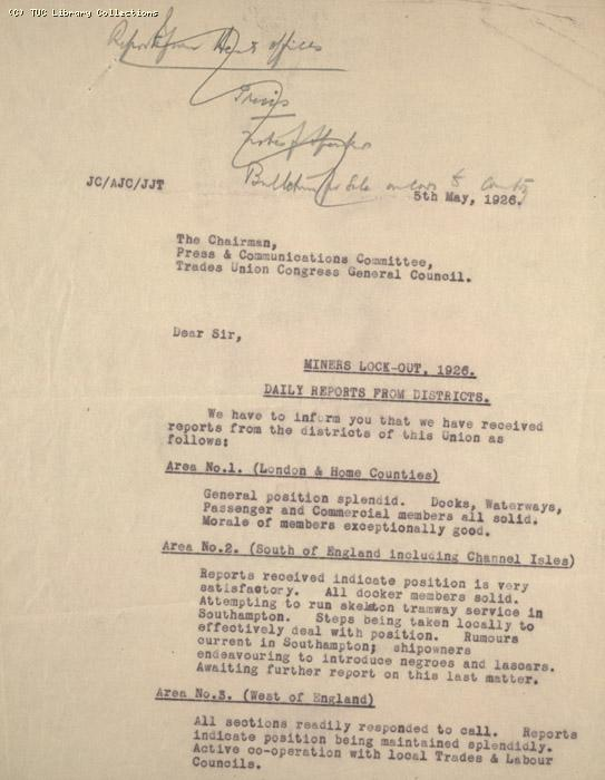 Daily Report - Miners Lock Out, 5 May 1926