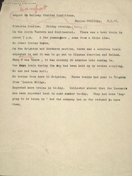 Report - Victoria Station train movements written by Marion Phillips, 8 May 1926 (2)