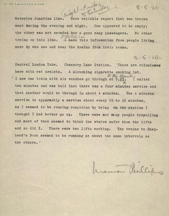 Report - Waterloo and Central London tube situation written by Marion Phillips, 8 May 1926 (1)