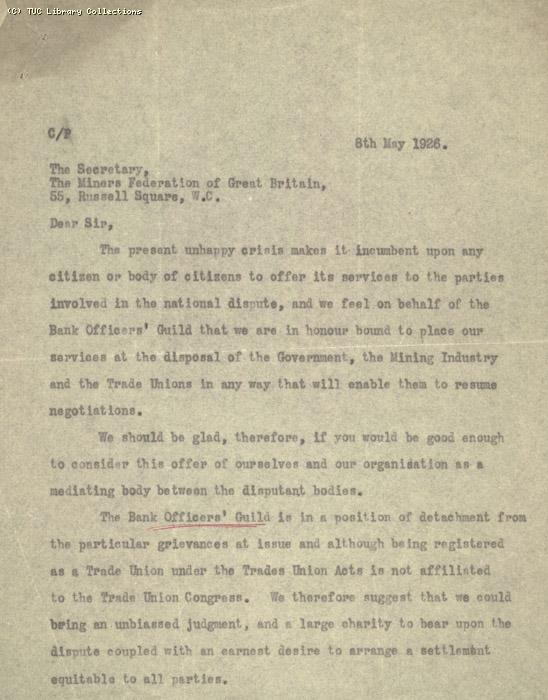 Letter - MFGB, 11 May 1926